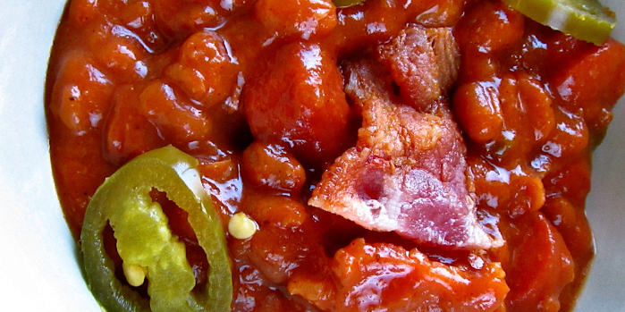 Spicy Chili Pork and Beans with Bacon and Jalapeno