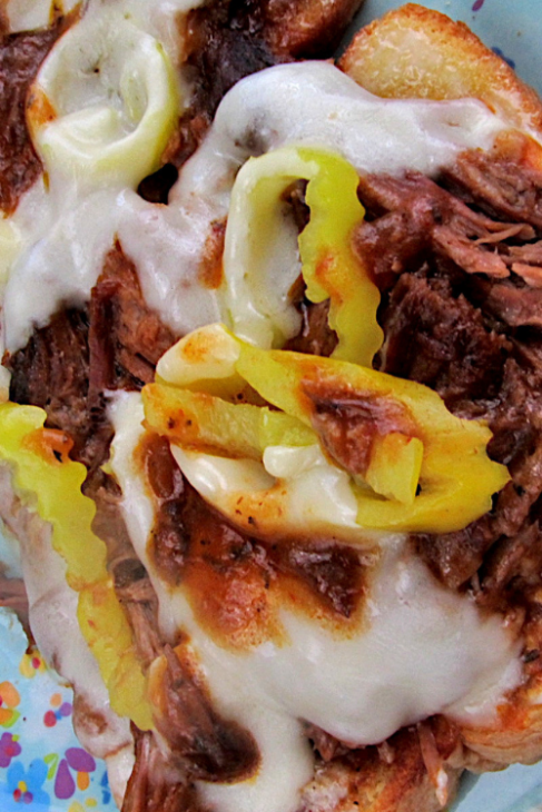 Slow Cooker Open Face Beef Roast Sandwiches